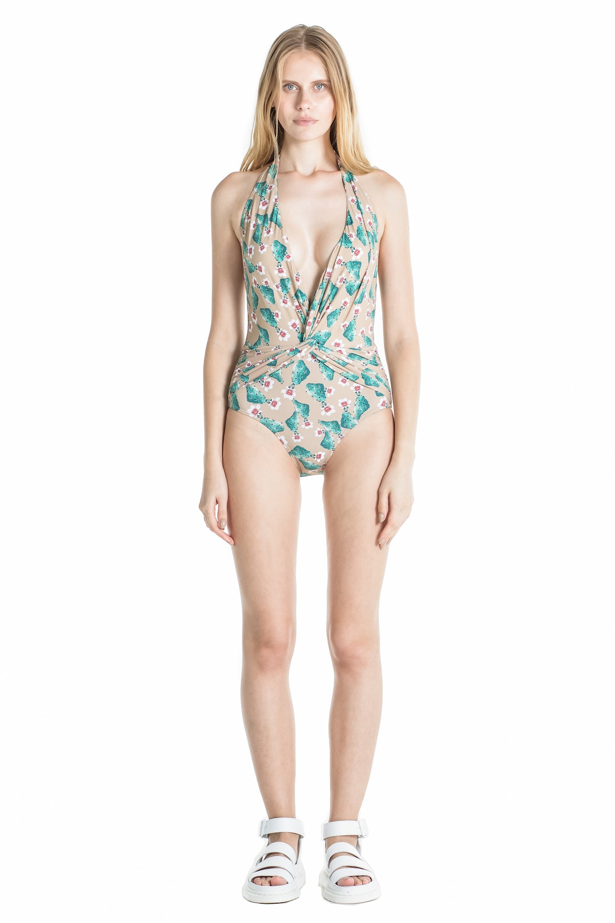 Front of Marina halter top swimsuit in Cactus.
