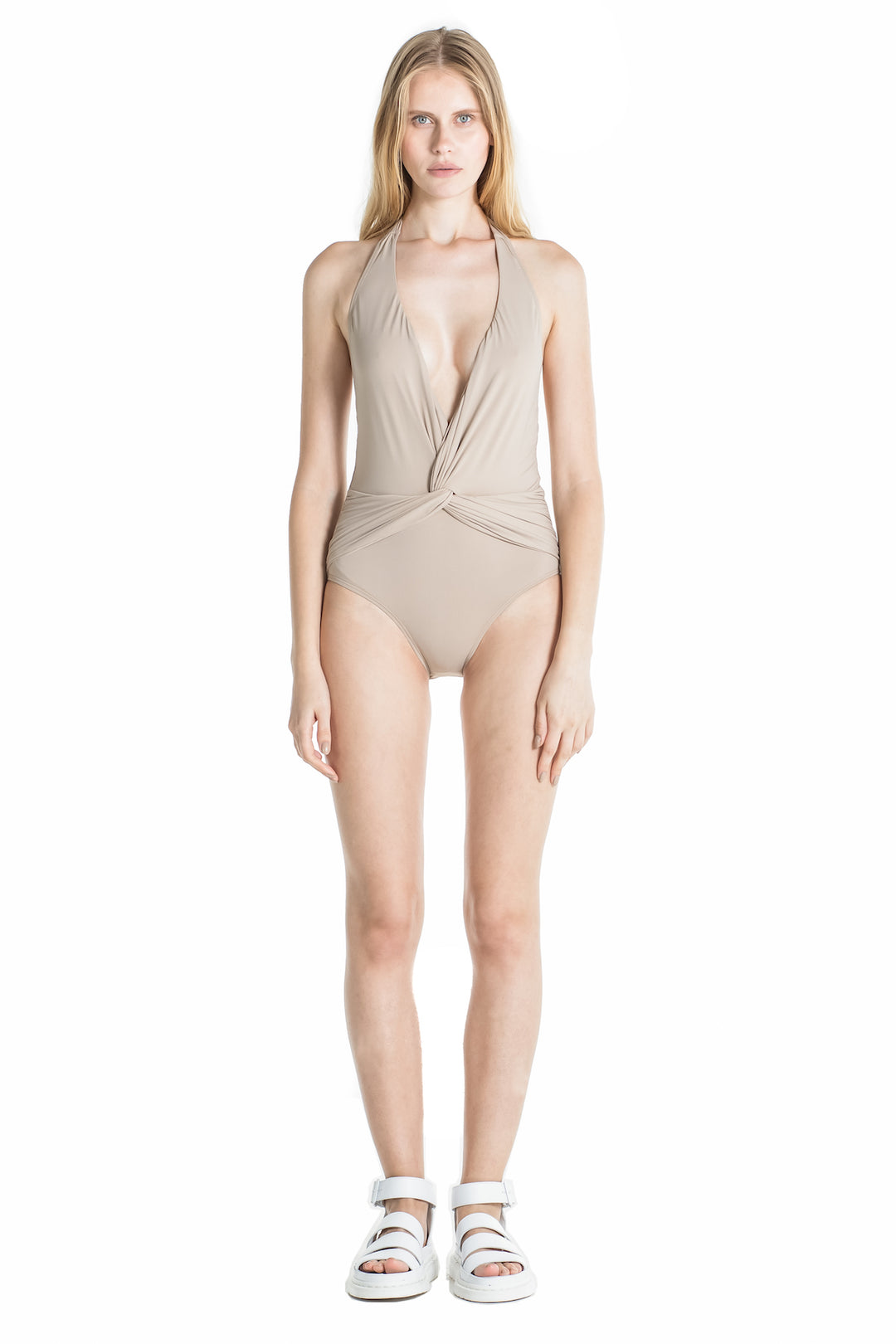 Front of Marina halter one piece swimsuit in Camel.