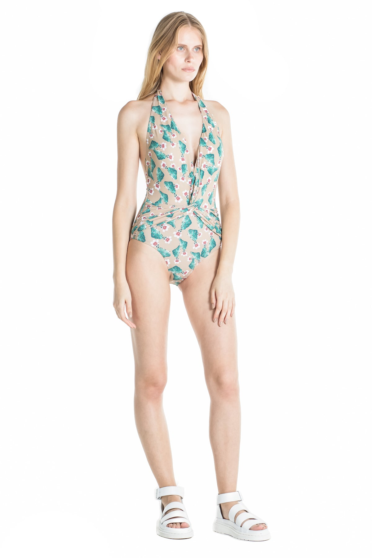 Side of Marina halter top swimsuit in Cactus.