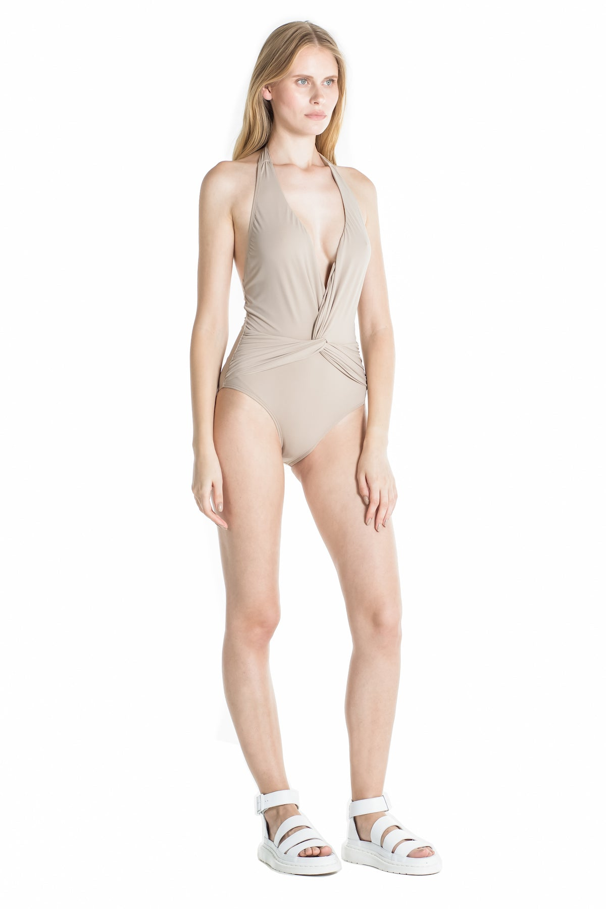 Side of Marina halter one piece swimsuit in Camel.