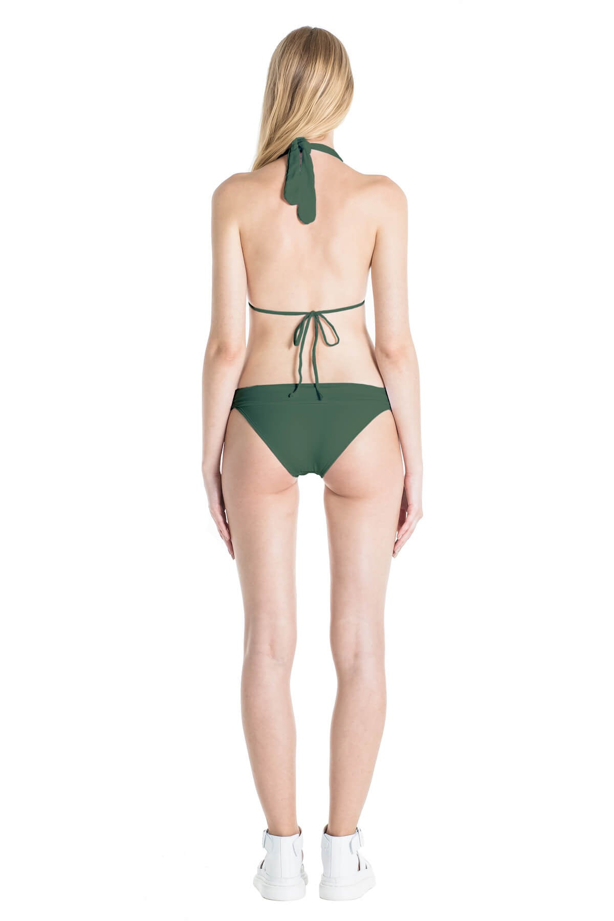 Back of Nina classic bikini bottoms in Green.
