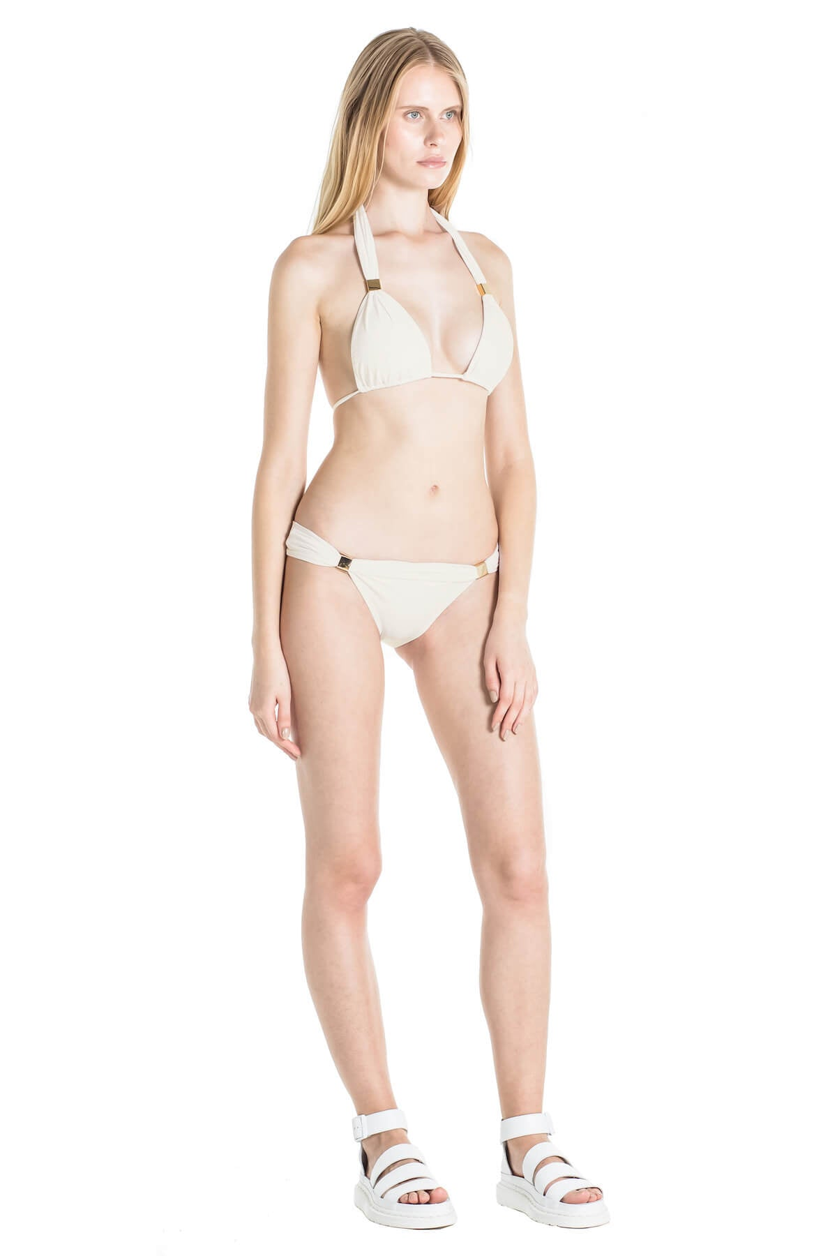 Side of Nina neutral bikini bottoms in Ivory.