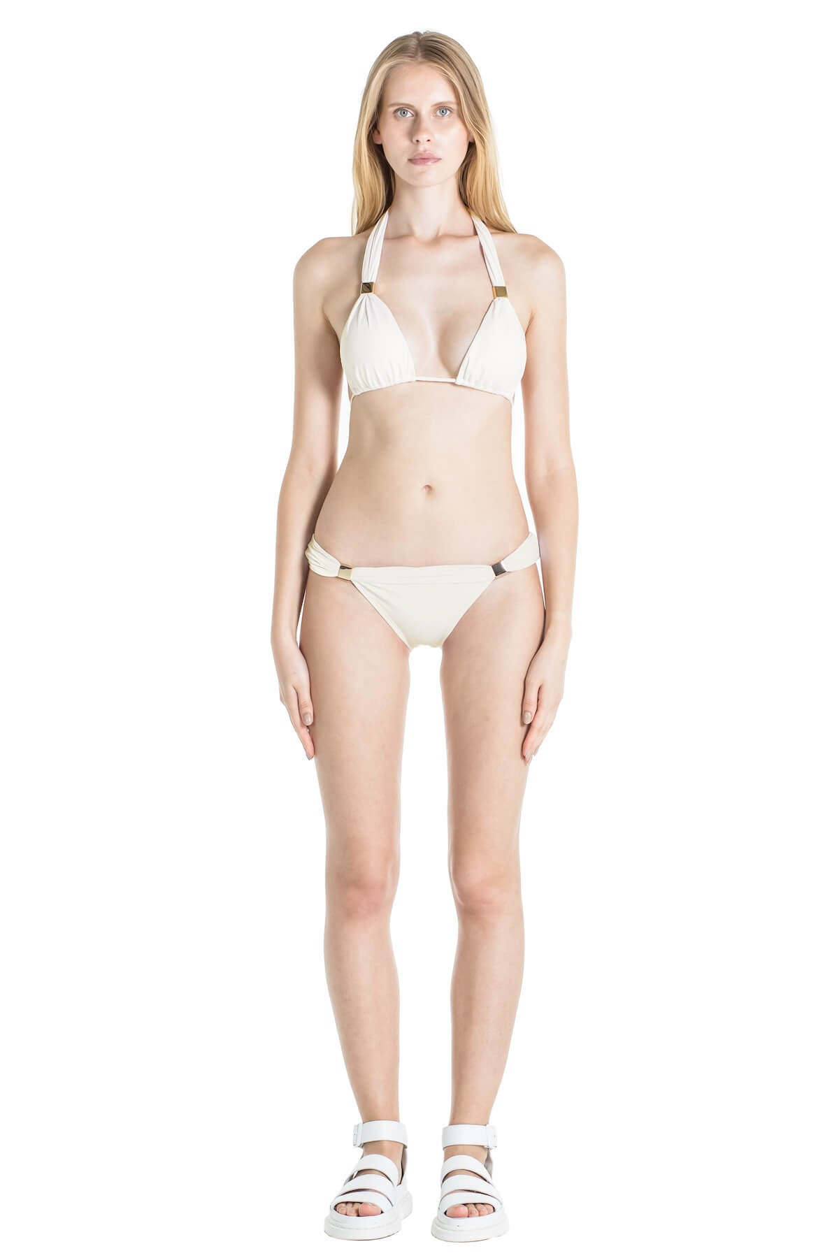 Front of Nina halter bikini top in Ivory.