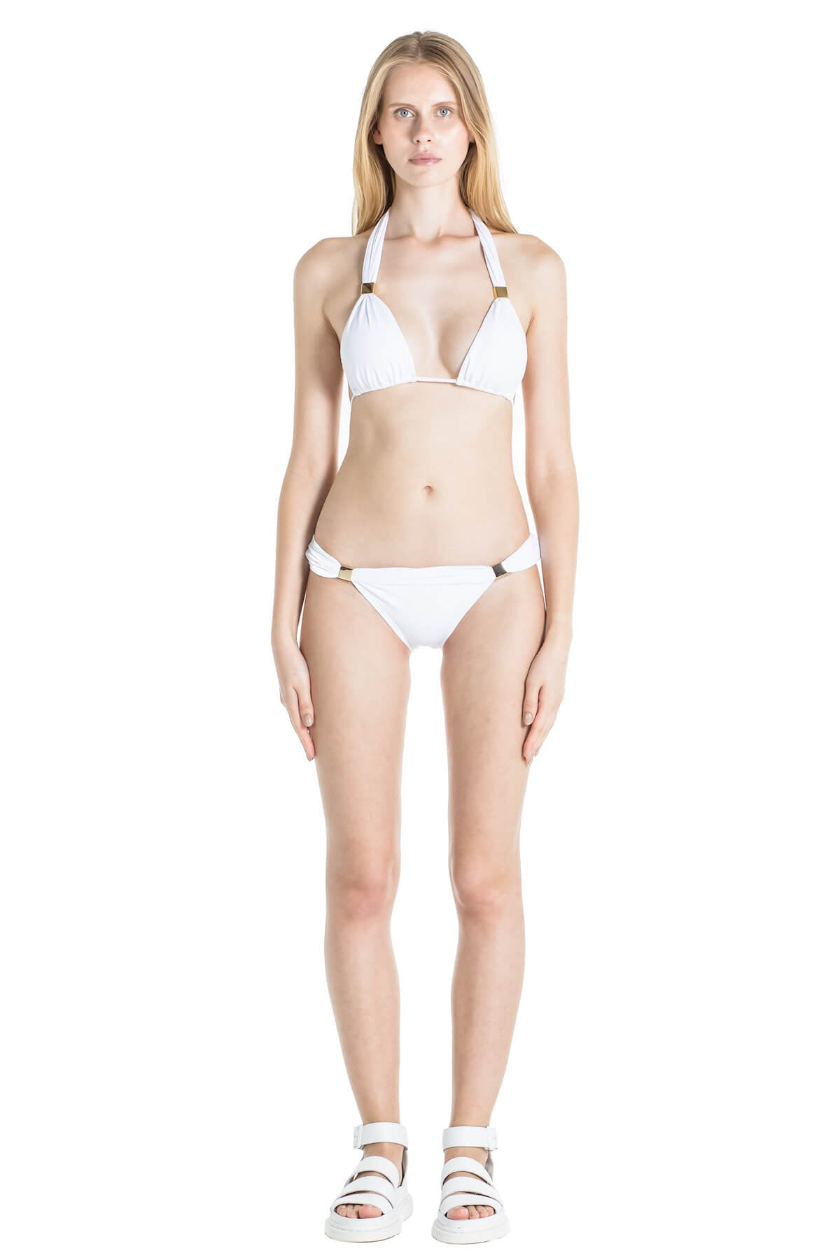 Full body image of front of Nina white bathing suit top and bottom.