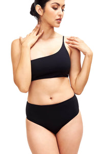 Front of Serena high waist bikini bottom in black