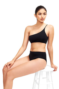 Sitting image of Serena high waist bikini bottom in black