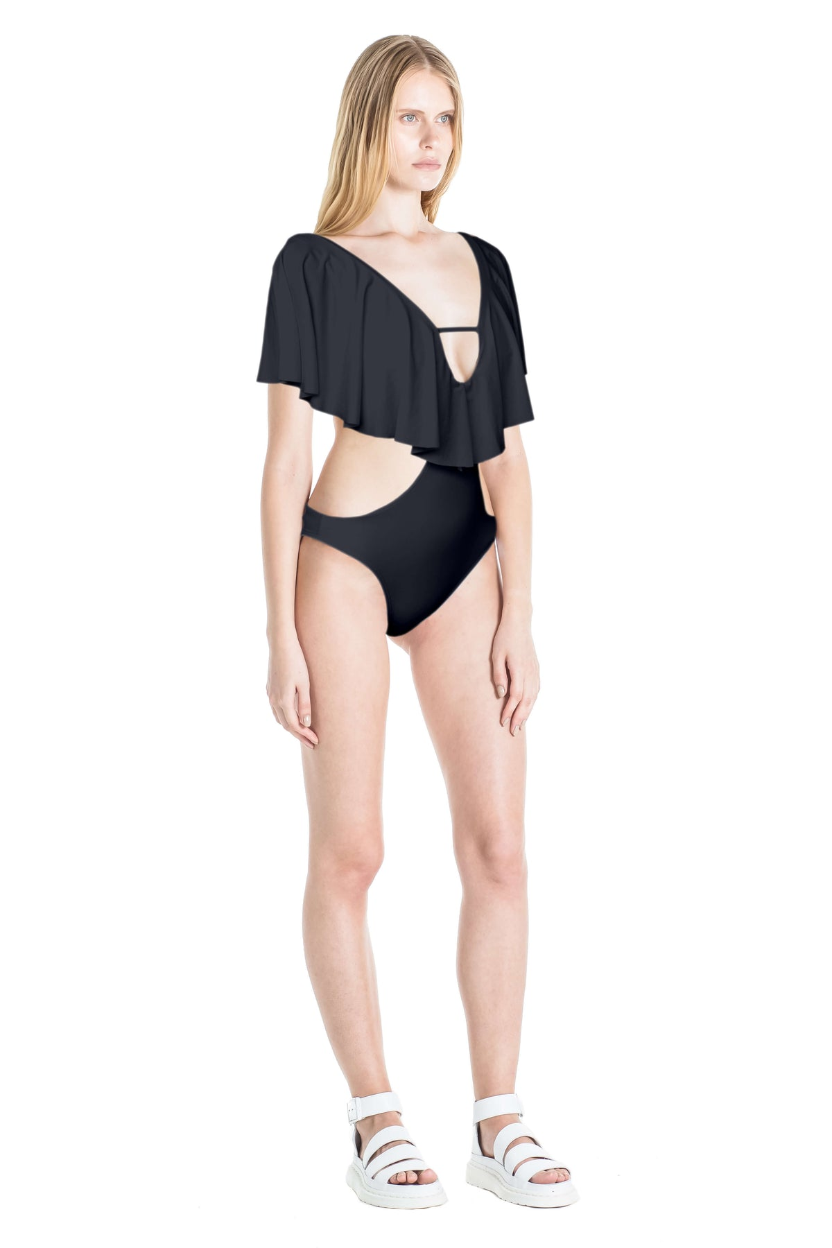Side of Thais monokini swimsuit in Black