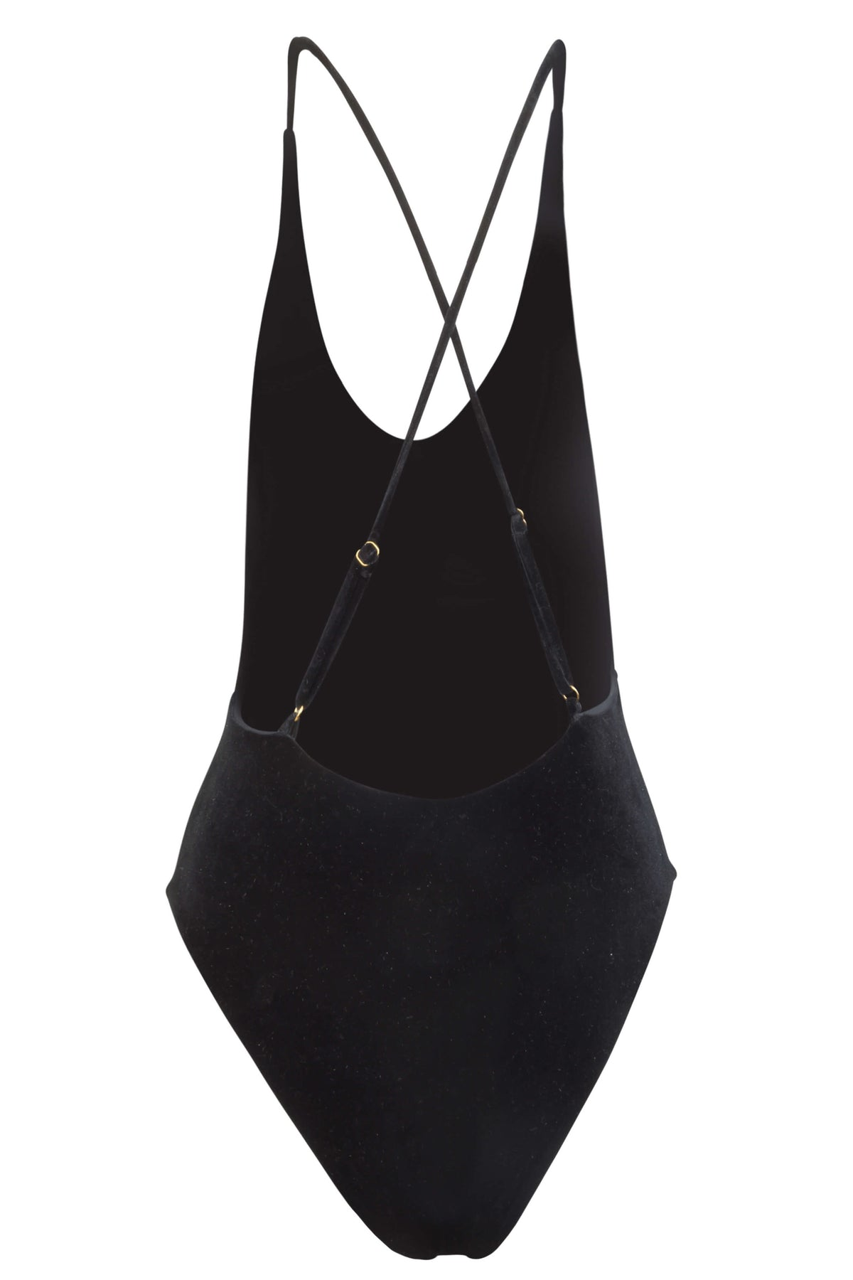 Back image of Zoe black velvet one piece showing the criss-cross, adjustable shoulder straps.
