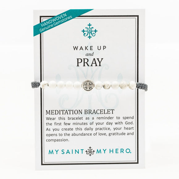 Wake Up & Pray Meditation Bracelet (BR00083-S-WH-105)