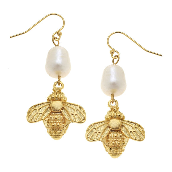 Pearl & Bee Drop Earrings (1201wr)