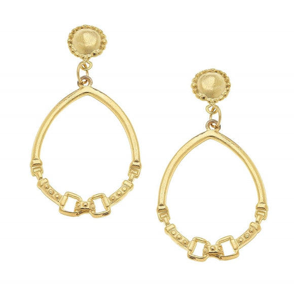 Gold Cab and Horse bit Hoop Earrings (1216g)