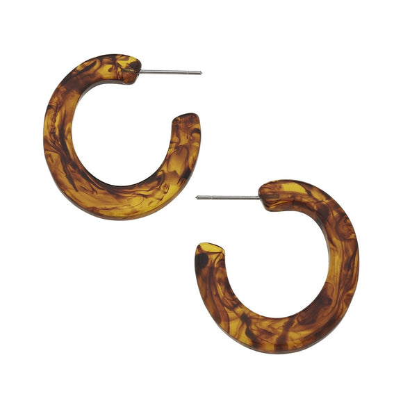 Tortoise Flat Hoop Earrings (1471t)