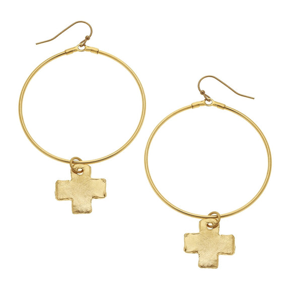 Gold Cross and Round Hoop Earrings (1806c)