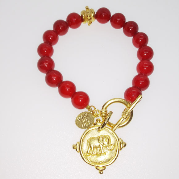Gold Elephant on Bracelet, Red Coral (2023eg)