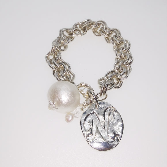 Cotton Pearl Toggle Bracelet w/N (2451N)