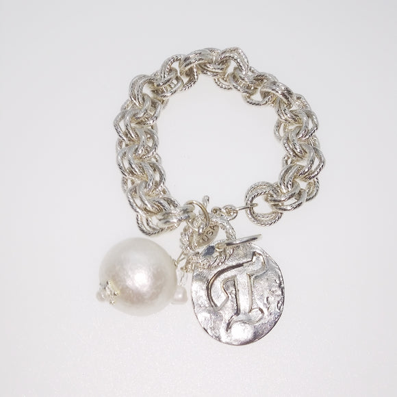 Cotton Pearl Toggle Bracelet w/T (2451T)