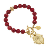 Cross Stone Toggle Bracelet, Red Coral (2909cg)