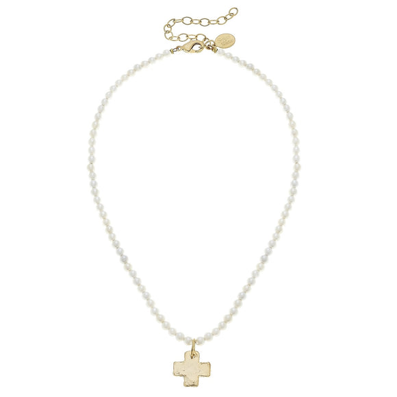 Gold Cross Pearl Bead Necklace (3342ci)