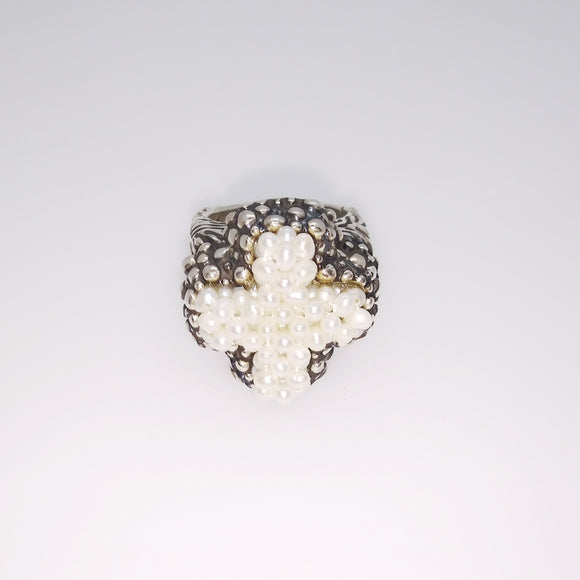 Pearl Cross Top Ring (RSP8330)