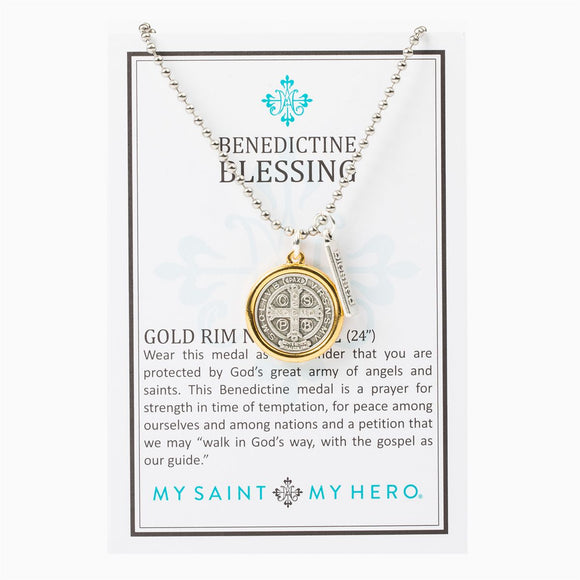 Benedictine Blessing Gold Rim Necklace (NBBS-20)