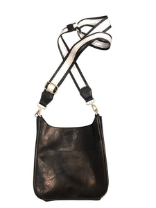 Black Mini Vegan Messenger Handbag with Strap (32579)