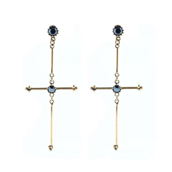 Garland Cross Earrings (E:GC-bg-a3-a3)