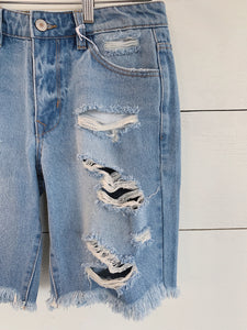 Distressed Light Wash Bermuda Shorts