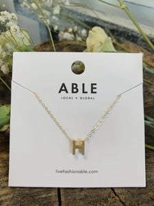 Gold Letter Charm Necklace
