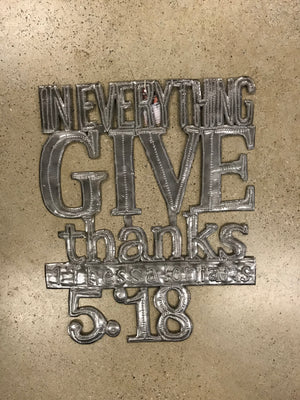 Give Thanks Metal Sign