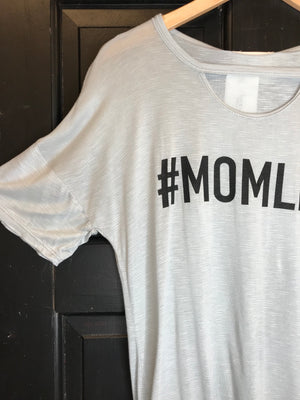V-neck graphic tee #mom grey