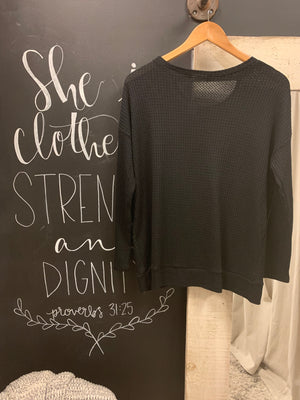 Black Tie Front Long Sleeve