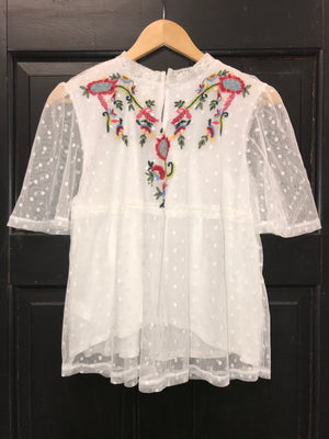 Peasant top with embroidery and lace