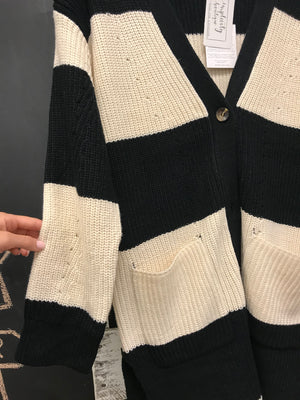 Long Stripe Knit Cardigan