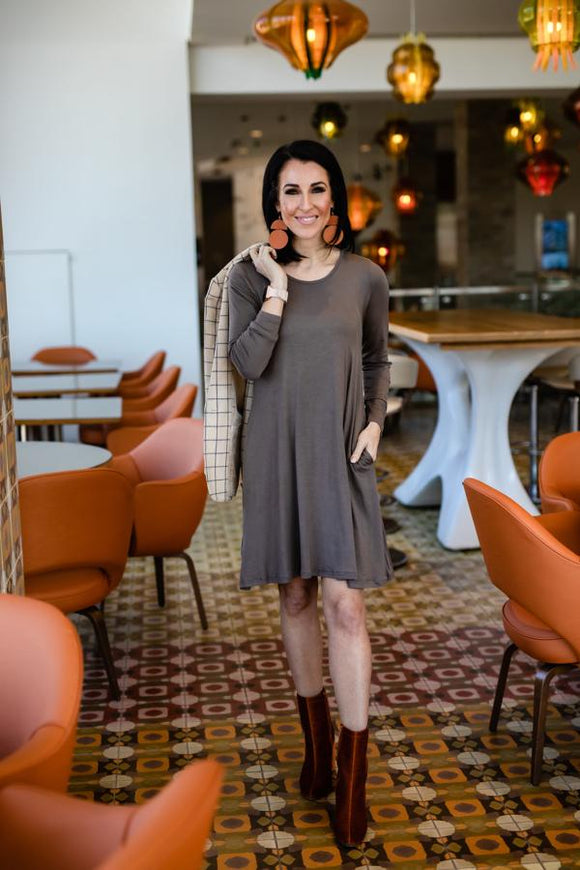 Mocha Pocket Swing Dress - Long Sleeve
