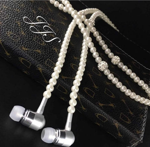 Pearl Necklace Earphones With Mic