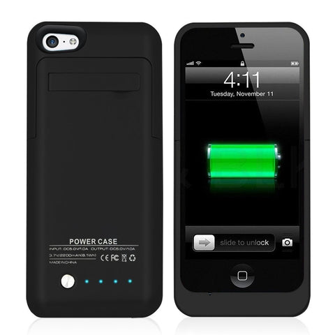 Ultra Slim Power Bank Charger Case 2200mAh for iPhone SE 5 5s 5c