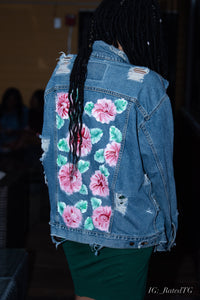 distressed denim jacket with hand painted flowers