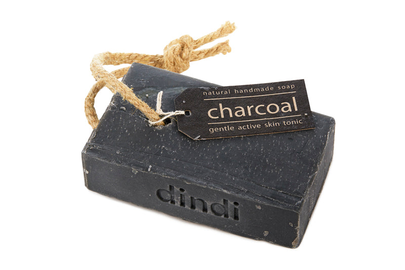 charcoal soap on hemp rope 200g