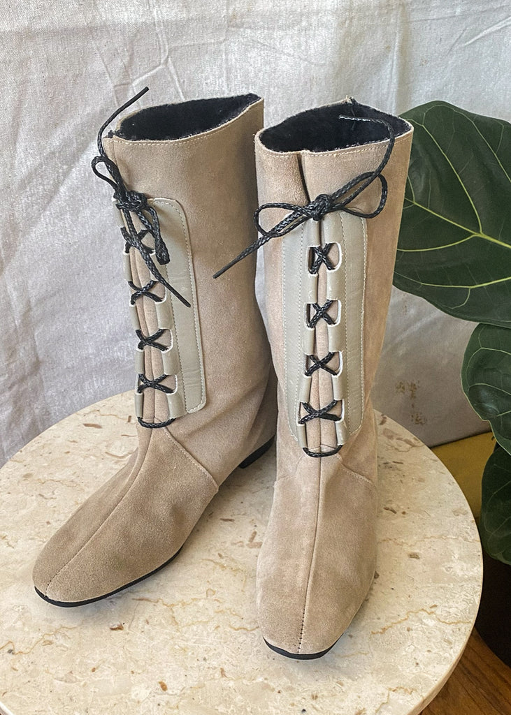 Lace-Up Sherpa Suede Boots