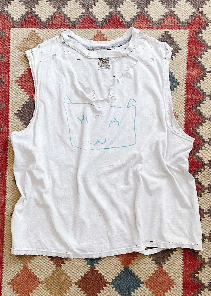 Vintage Distressed Shredded Bleached Kitty Graphic Tee