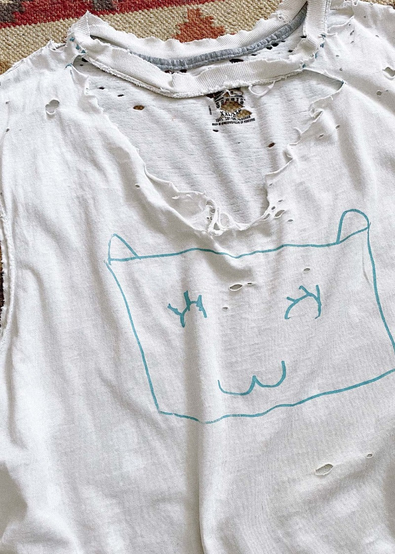 Shredded and Bleached Kitty Tee