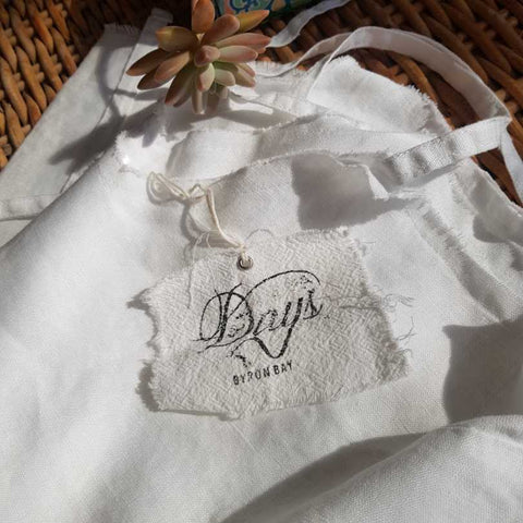 Fabric offcuts linen tote swing tag made in Australian Byron bay sustainable fashion