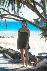 Byron Bay Main Beach Linen Dress Ethically Made Sustainable Fashion Made In Australia