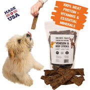 Venison and Beef Sticks | Dog or Puppy Treats | Easy to Chew | Made in USA | Great for Training | for Large and Small Dogs | All Natural Treats | Irresistible Meaty Flavor | 12 oz.