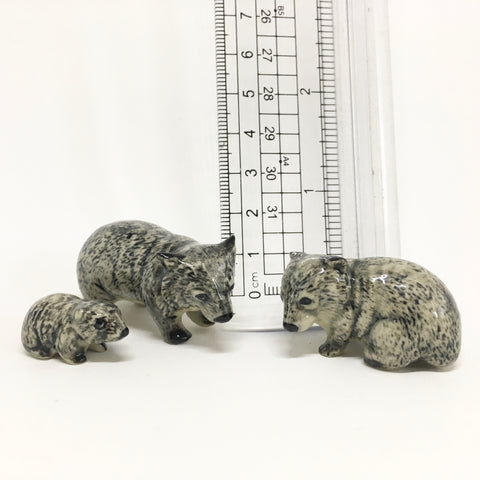 Small Miniature Ceramic Wombat Family
