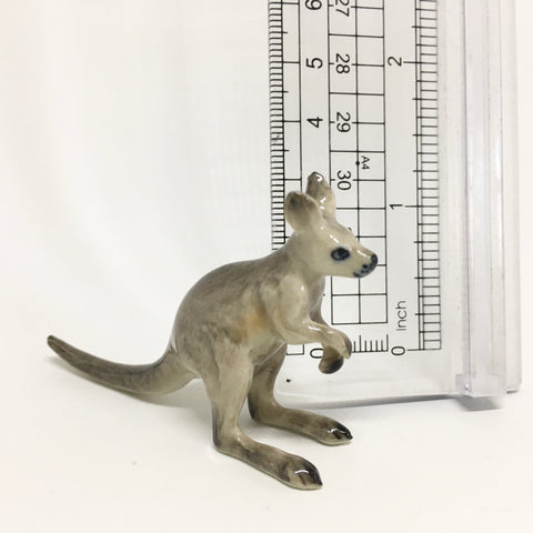 Small Miniature Ceramic Grey Kangaroo - Joey