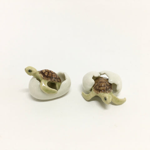Tiny Miniature Ceramic Turtles and Eggs