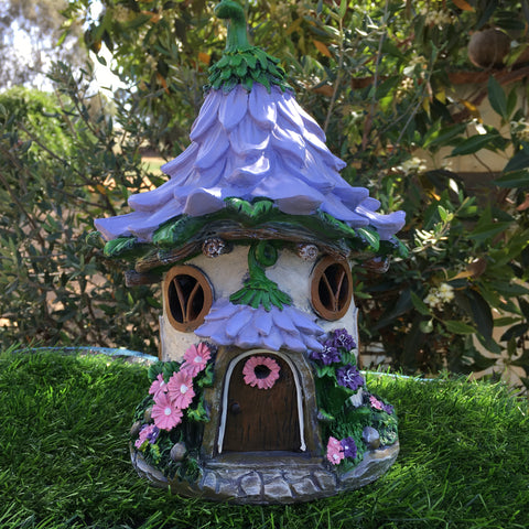 Purple Flower Fairy House With Solar Lighting