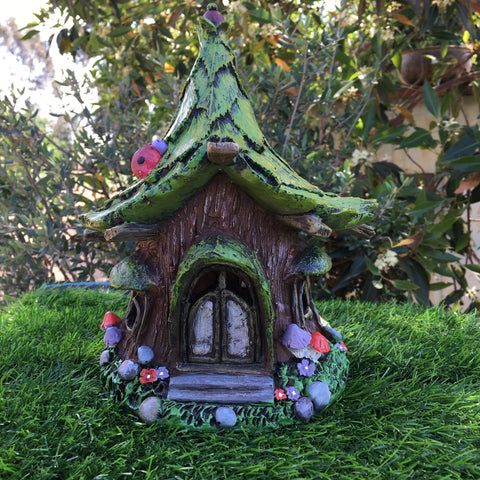 Ladybug Fairy House with Solar Lighting
