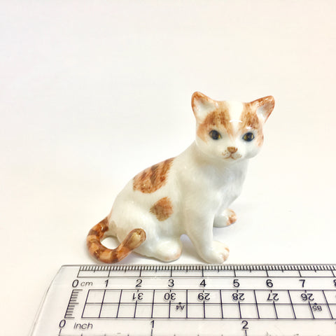 Miniature Ceramic Brown and White Cat